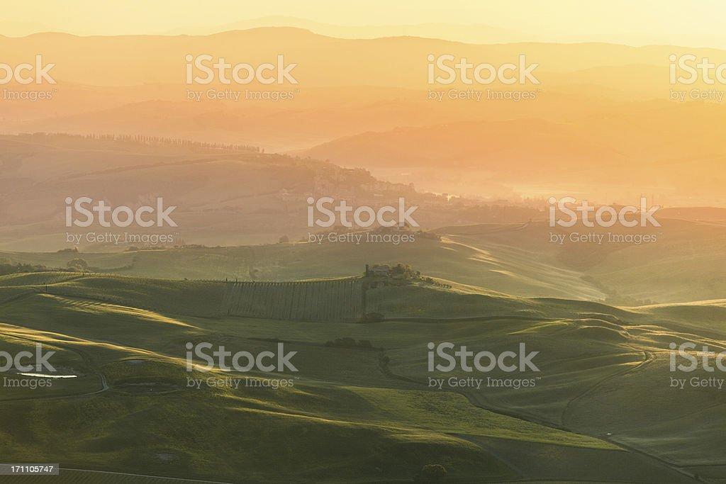 Val d'Orcia Landscape at Sunrise, Tuscany royalty-free stock photo