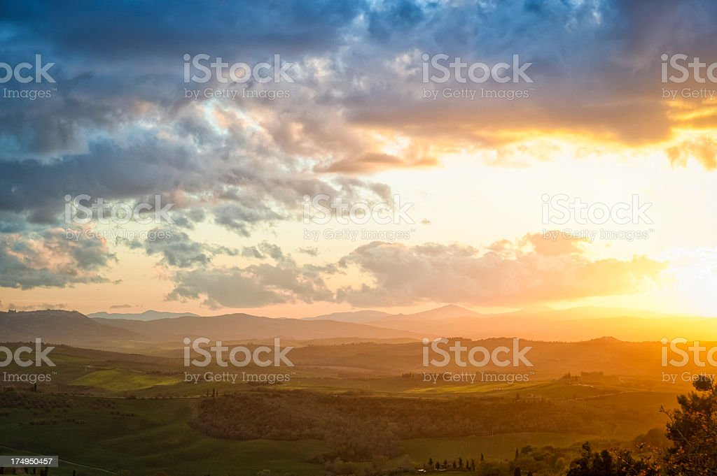 Val d'Orcia landscape at sunset, Tuscany royalty-free stock photo