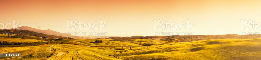 Val d'orcia lanscape panoramic view - beautiful italy royalty-free stock photo