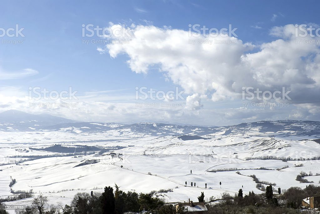 Val d'Orcia winter landscape royalty-free stock photo
