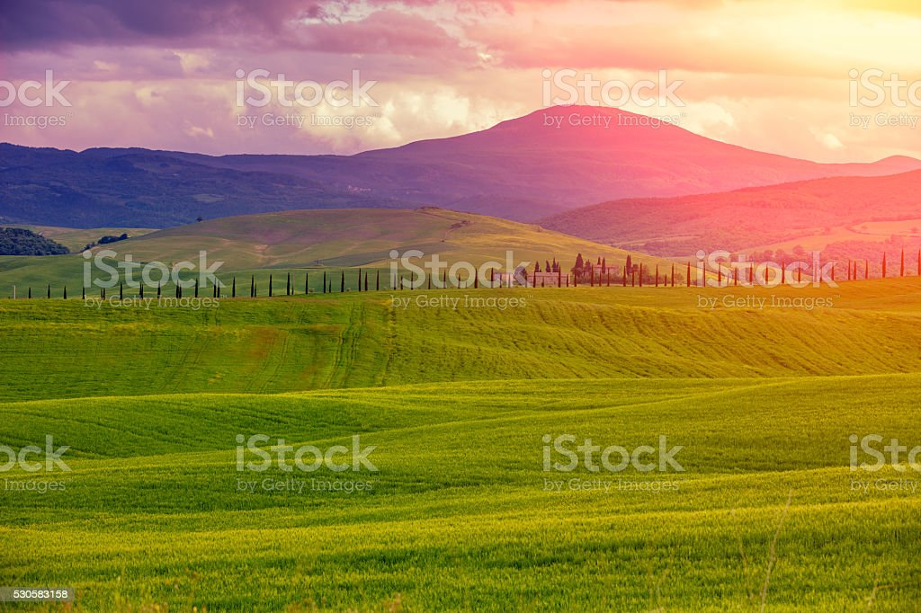 Val d'Orciain the morning , Tuskany, Italy stock photo