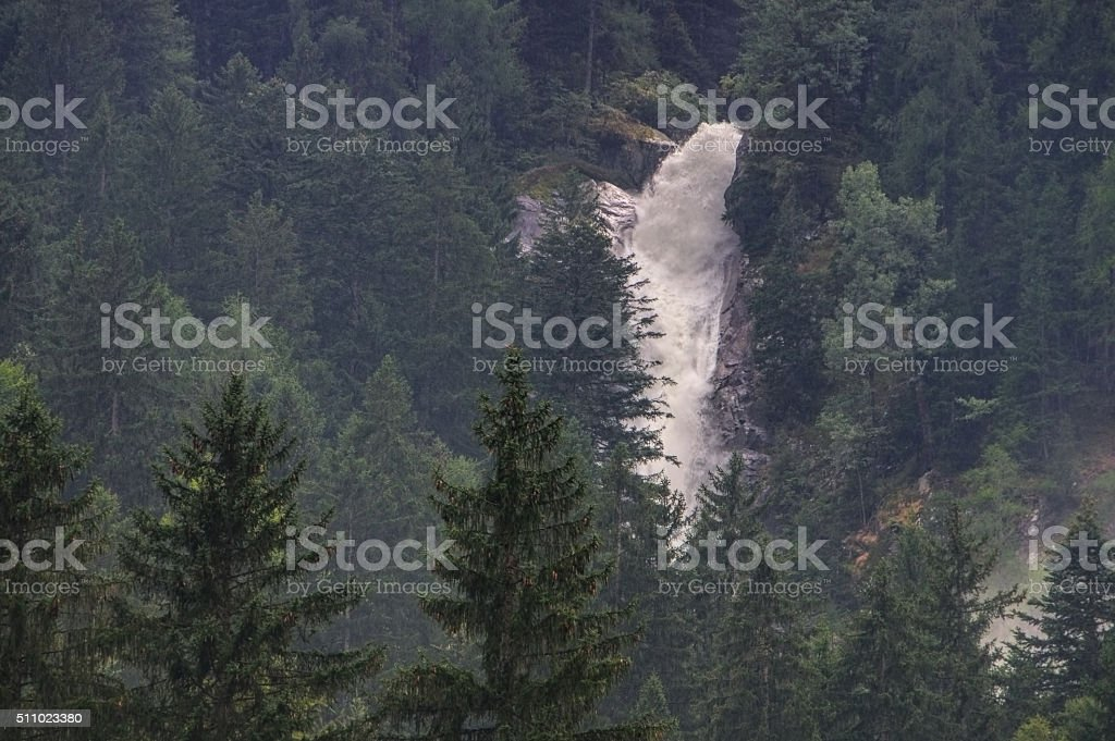 Val Genova Cascate del Lares in Alps stock photo