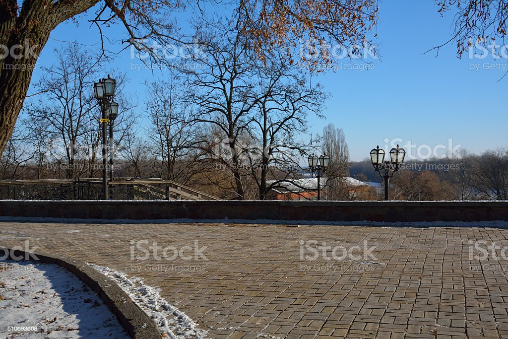 Val park in Chernihiv, Ukraine, next to the cannons stock photo