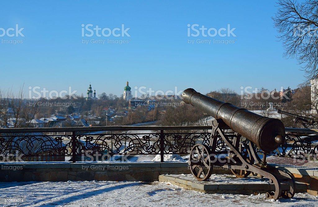 Val park in winter with a cannon, Chernihiv, Ukrai stock photo