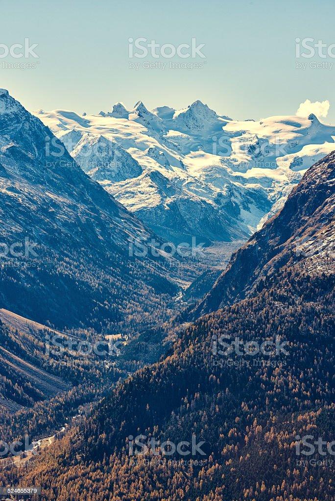 Val Roseg and Piz Bernina stock photo
