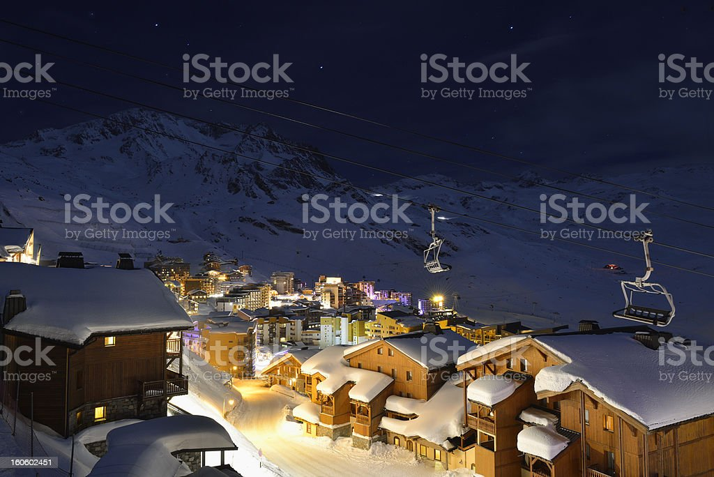 Val Thorens at night stock photo