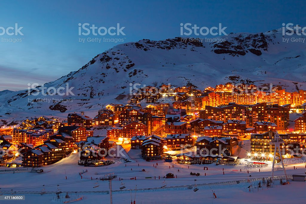 Val Thorens by night stock photo