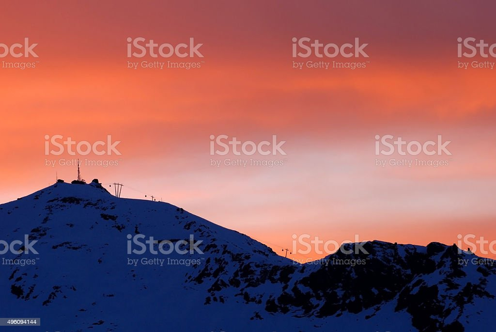 Val Thorens Silhouette Skilift stock photo