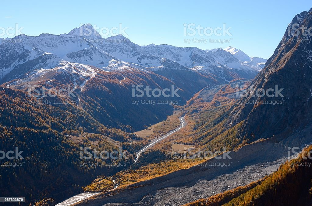 Val Veny autumn view from Mont Blanc, Valle Aosta, Italy stock photo