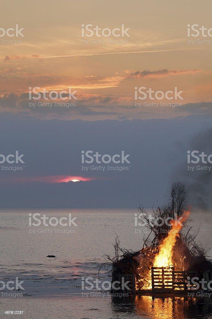 Valborg fire over the Oresund stock photo