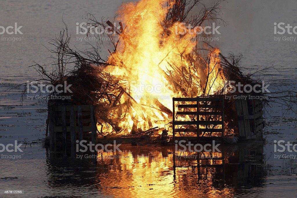 Valborg fire over the Oresund royalty-free stock photo