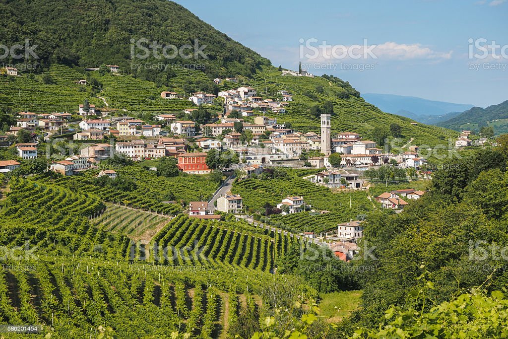 Valdobbiadene town and Prosecco vineyards in Veneto stock photo