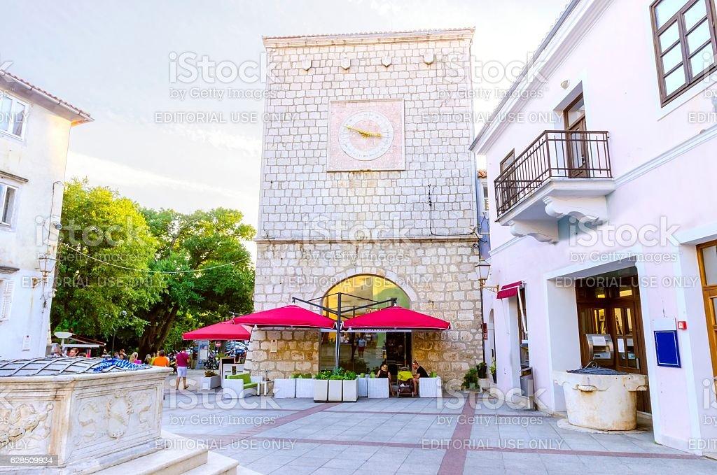 Vale market place, Krk town, Croatia stock photo