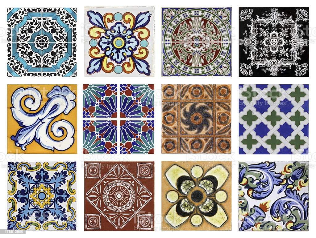 Valencia azulejos different textures stock photo