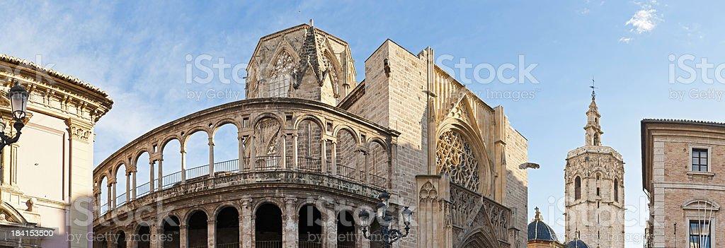 Valencia Cathedral tower panorama Plaza de la Virgen Spain stock photo