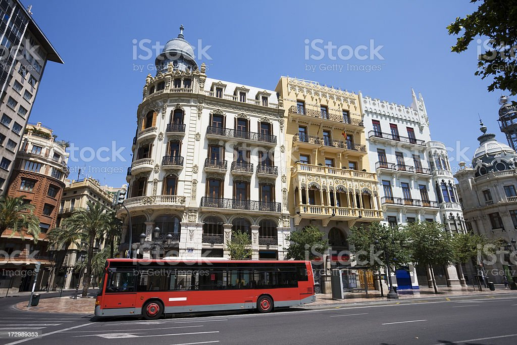 Valencia City Street with Bus royalty-free stock photo