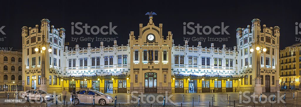 Valencia Estacio del Nord ornate railway station illuminated Spain royalty-free stock photo