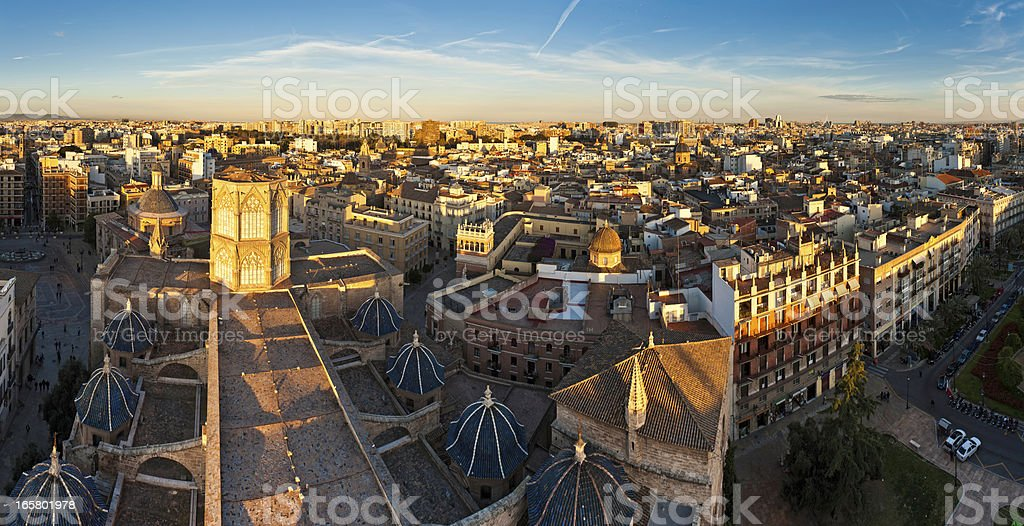 Valencia golden city sunset panorama Spain royalty-free stock photo