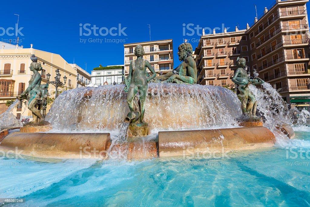 Valencia Neptuno fountain in Plaza de la virgen square Spain stock photo