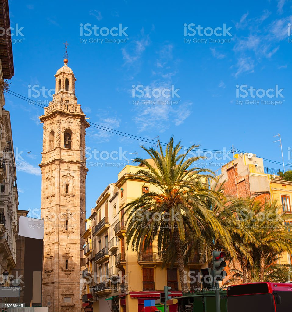 Valencia Plaza de la Reina with Santa Catalina church tower stock photo