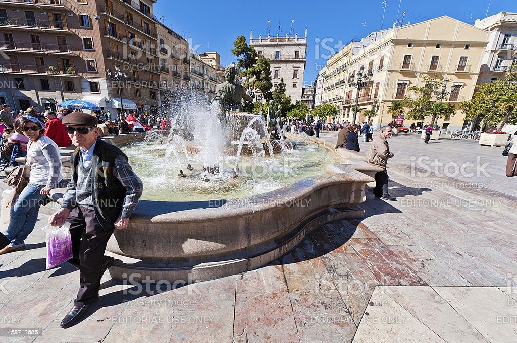 Valencia Plaza de la Virgen Turia Fountain Spain stock photo