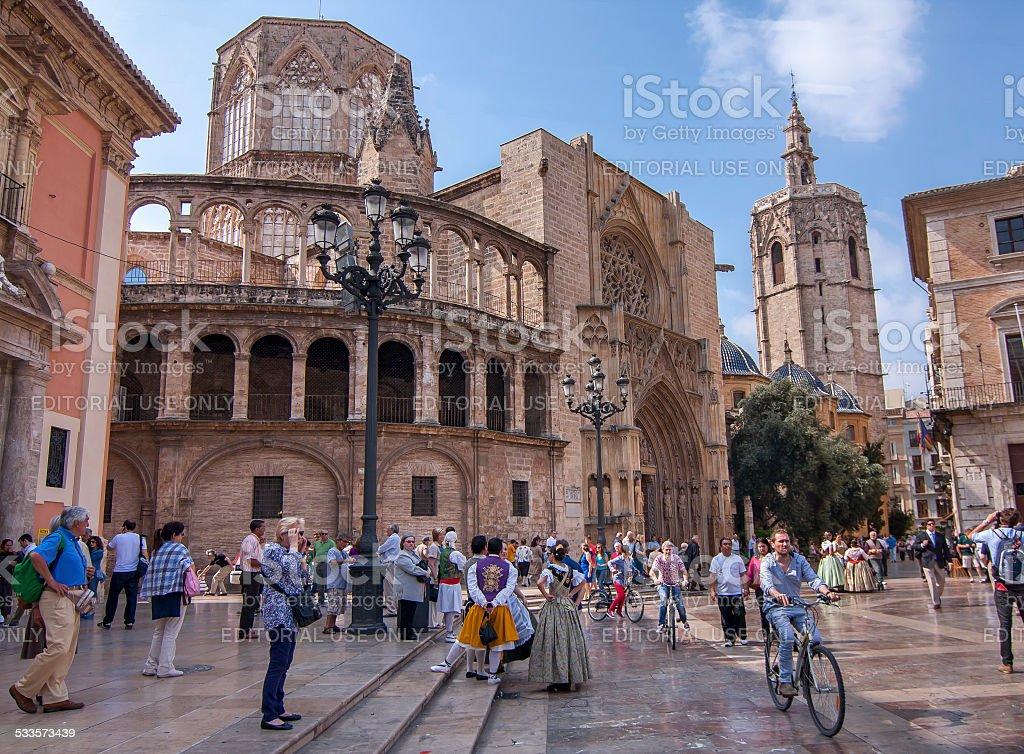 Valencia plaza stock photo