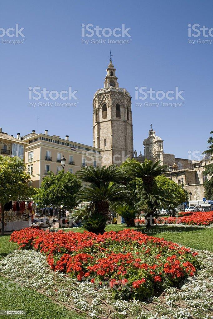 Valencia Spain - Plaza de la Reina and Cathedral stock photo