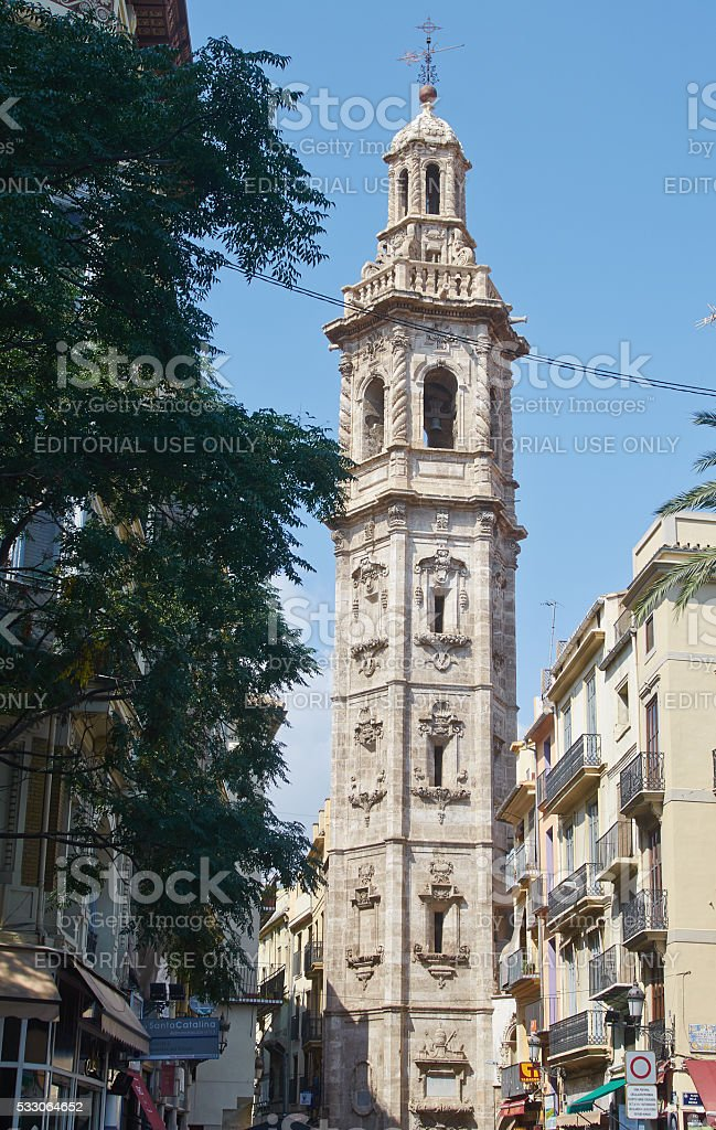 Valencia, Spain, September, 11, 2015, church tower Santa Catalin stock photo
