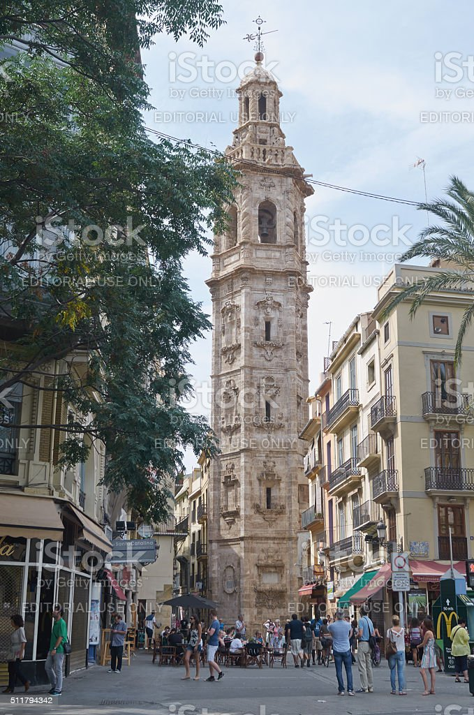 Valencia, Spain, September, 5, 2015, church tower Santa Catalina, editorial. stock photo