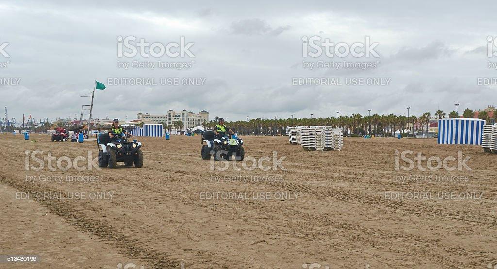 Valencia, Spain, September, 06, 2015, two police patrol cars, editorial. stock photo