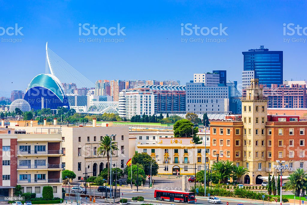 Valencia Spain Skyline stock photo