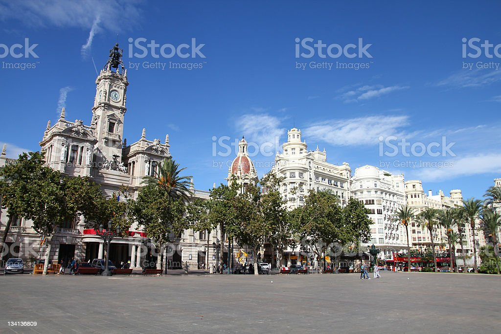 Valencia street on a beautiful sunny day with a blue sky stock photo