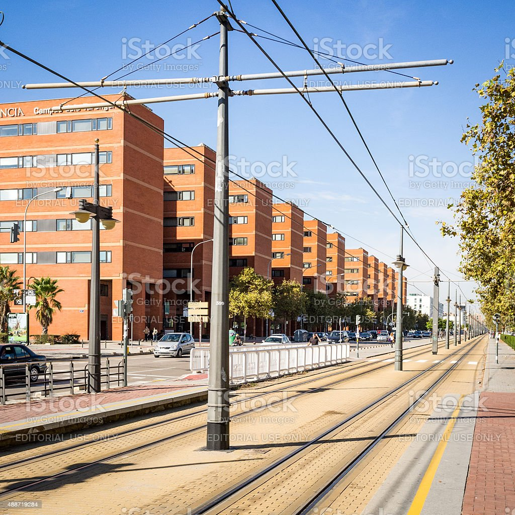Valencia tram lines stock photo