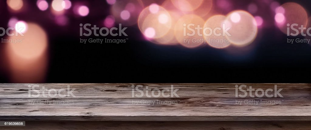 Valentine background in front of an empty table stock photo