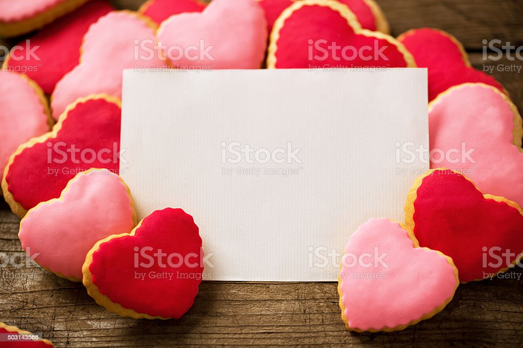 Valentine blank card with beautiful heart cookies stock photo