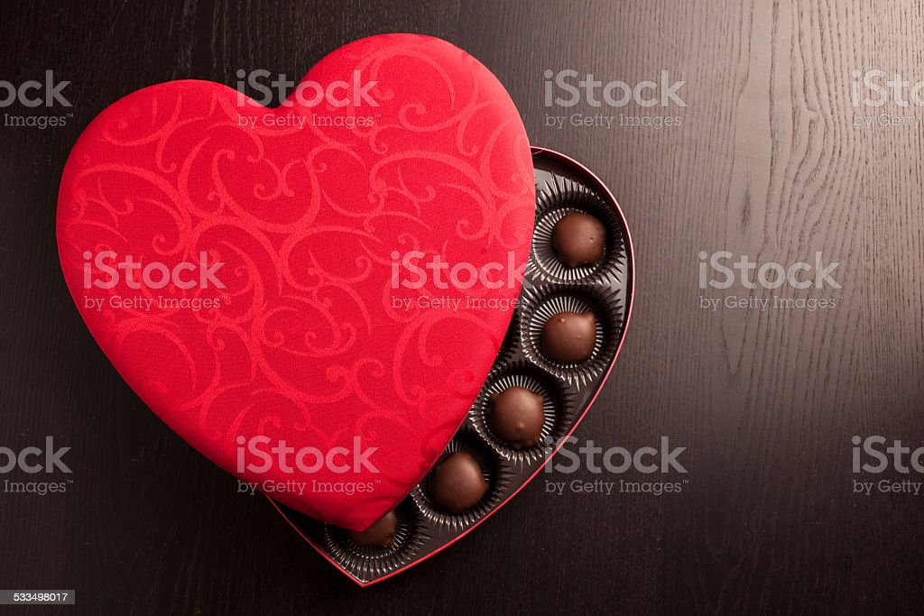 valentine candy heart box stock photo