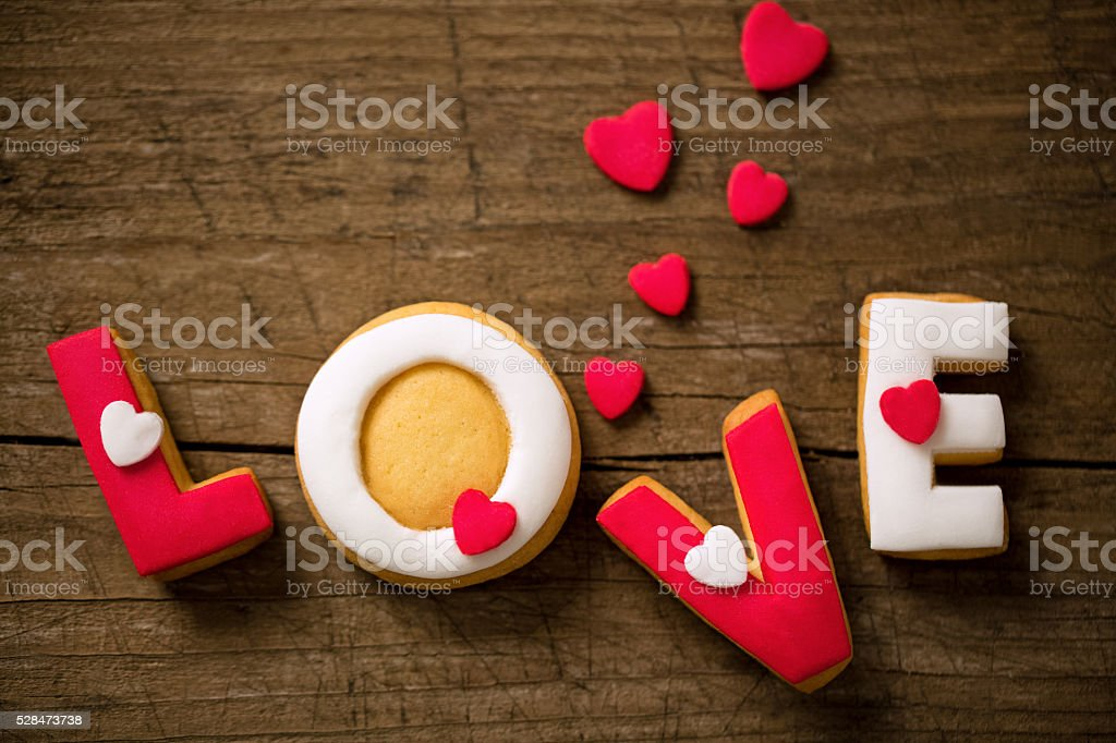 Valentine cookies and small hearts stock photo