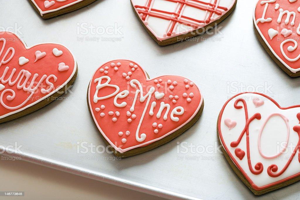 Valentine Cookies on Tray stock photo