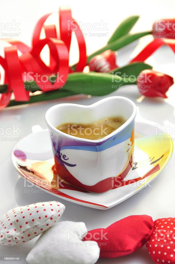 valentine - cup of coffee with cloth hearts stock photo
