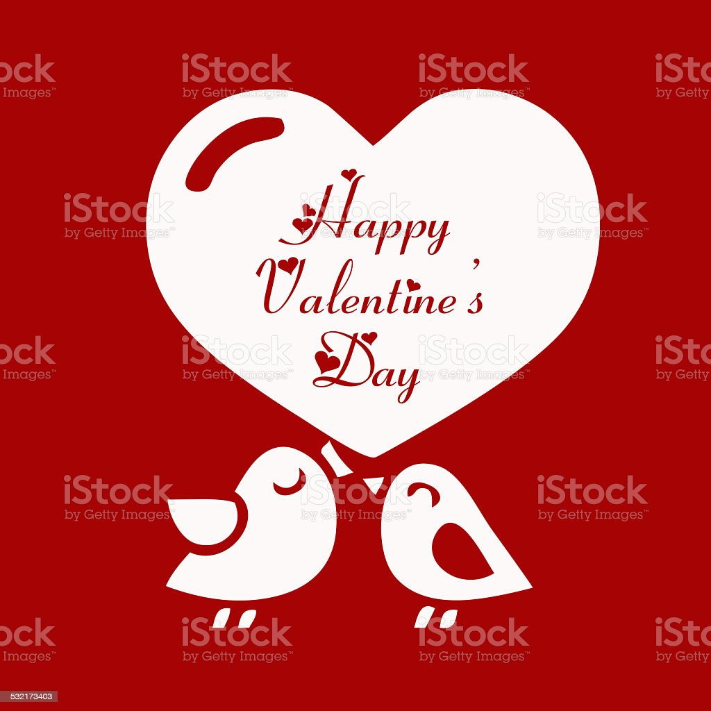 Valentine Day Love Beautiful Card With Cute Love Couple Birds – Bird Valentine Card