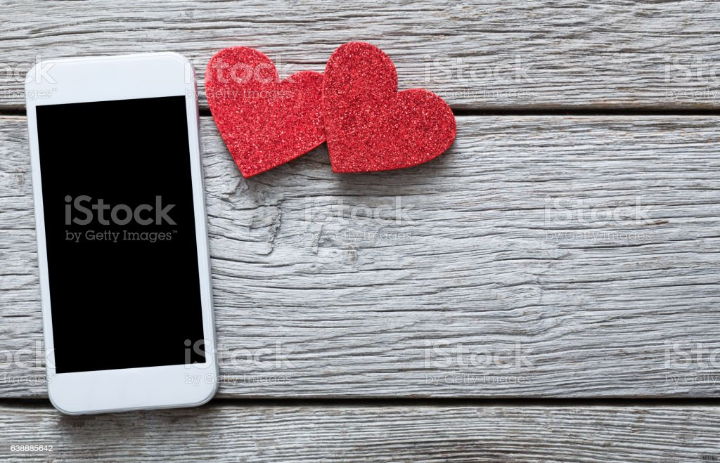 Valentine day online connection background with copy space stock photo