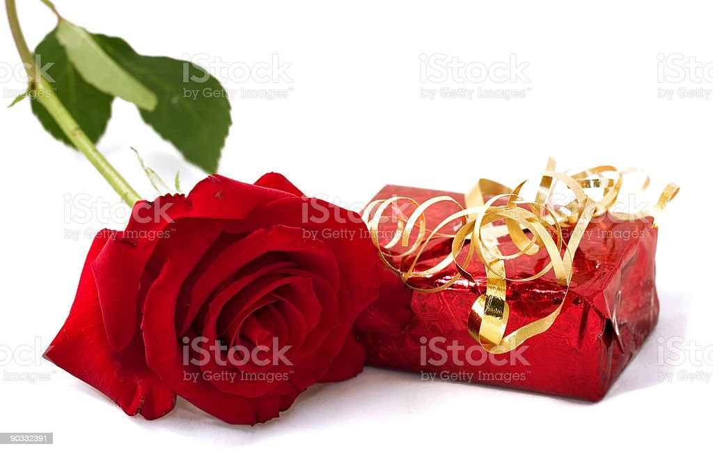 Valentine gift with red rose royalty-free stock photo