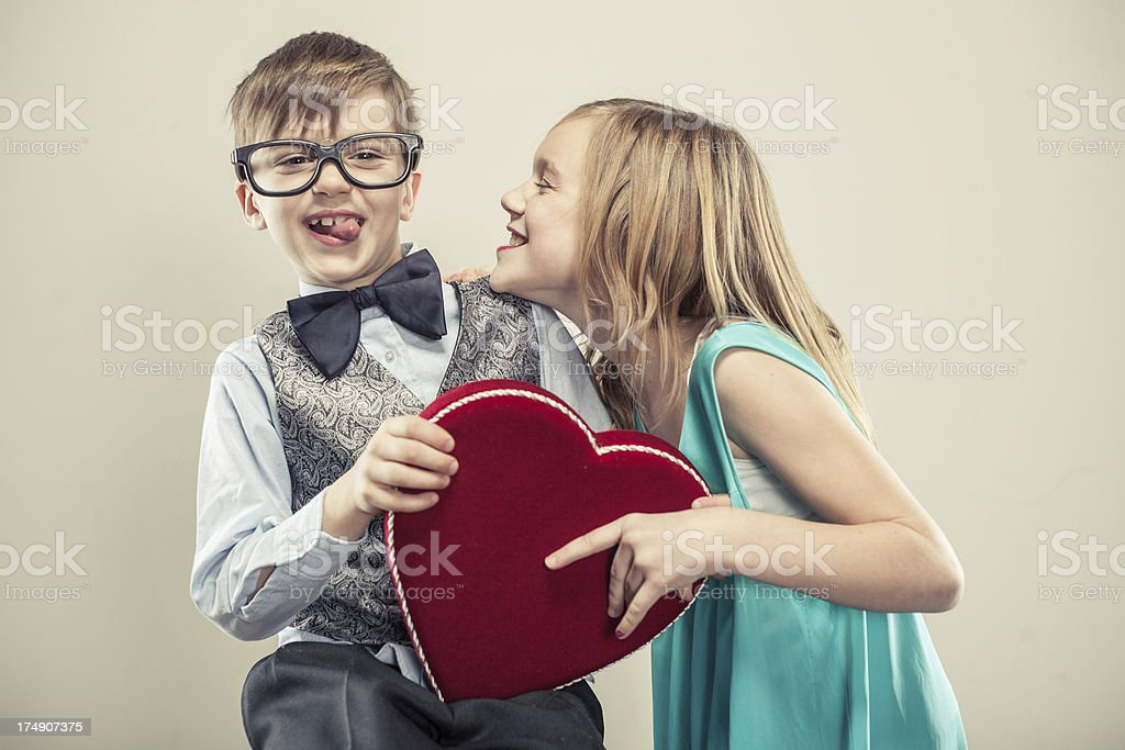Valentine Girl and Boy royalty-free stock photo