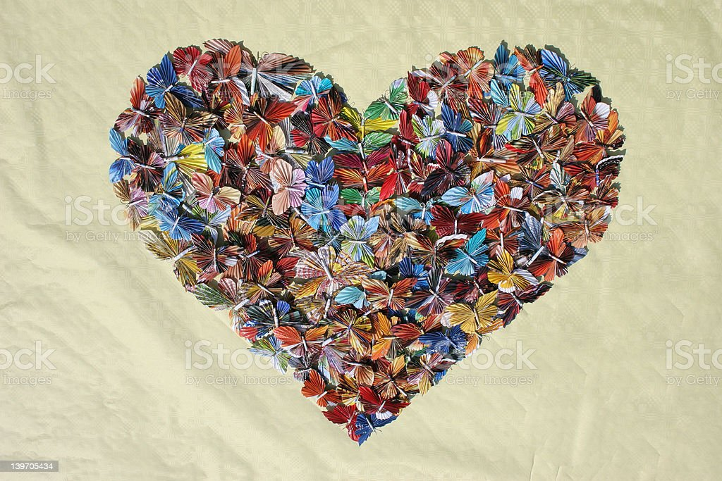 Valentine heart filled with butterflies royalty-free stock photo