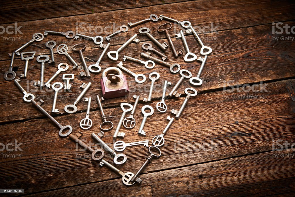 Valentine heart from different old keys. stock photo