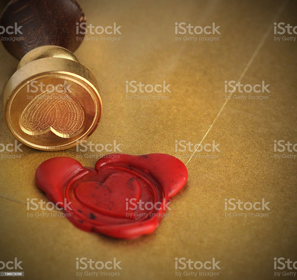 Valentine Heart Seal Card stock photo