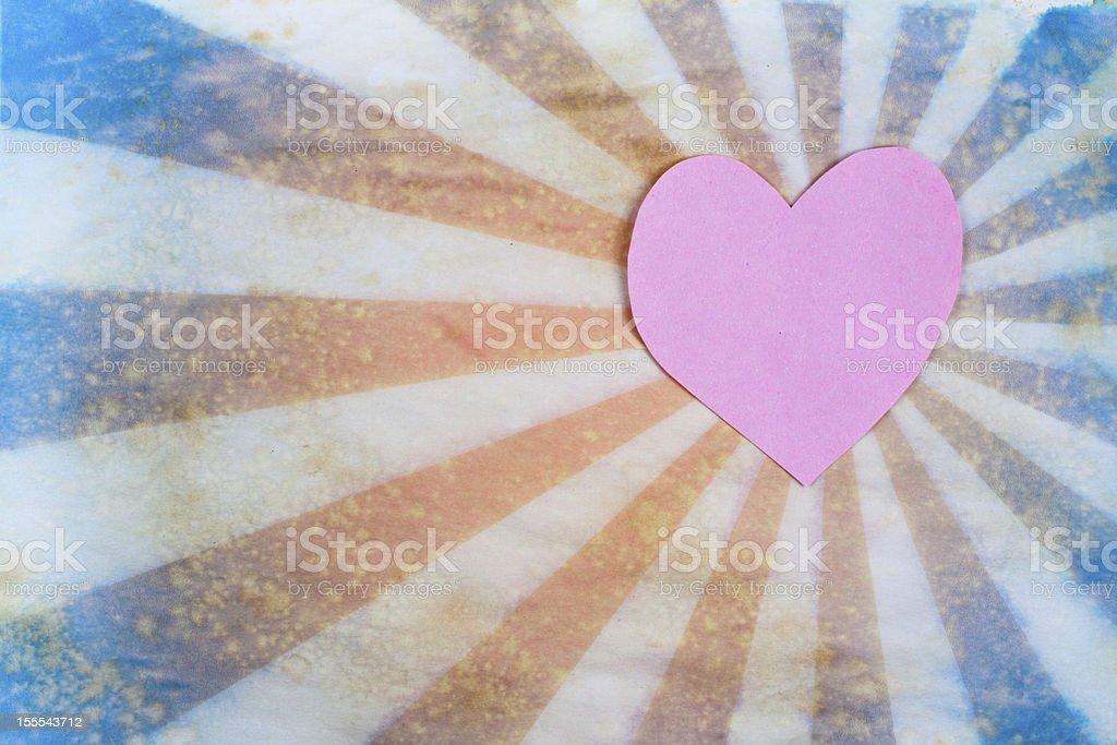 Valentine Heart shape on sunburst retro background royalty-free stock photo