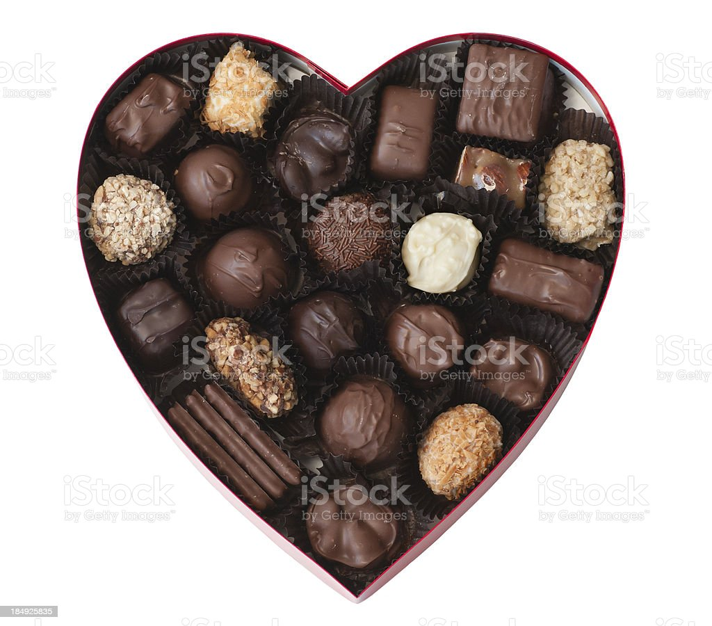 Valentine Heart Shaped Box of Chocolates royalty-free stock photo