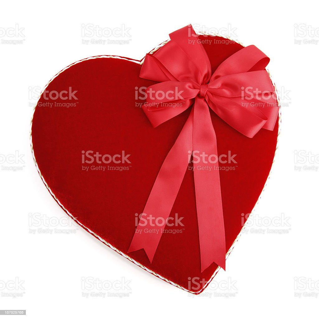 Valentine Heart Shaped Candy Box with Red Bow royalty-free stock photo