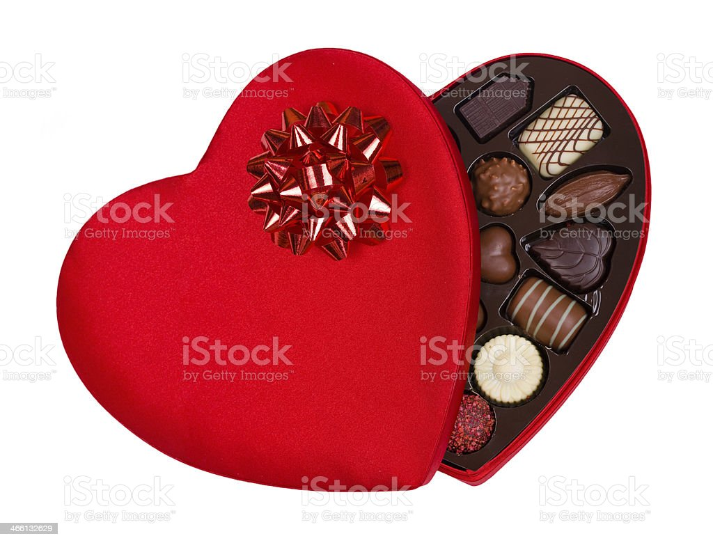 Valentine Heart Shaped Candy Box with Red Bow stock photo